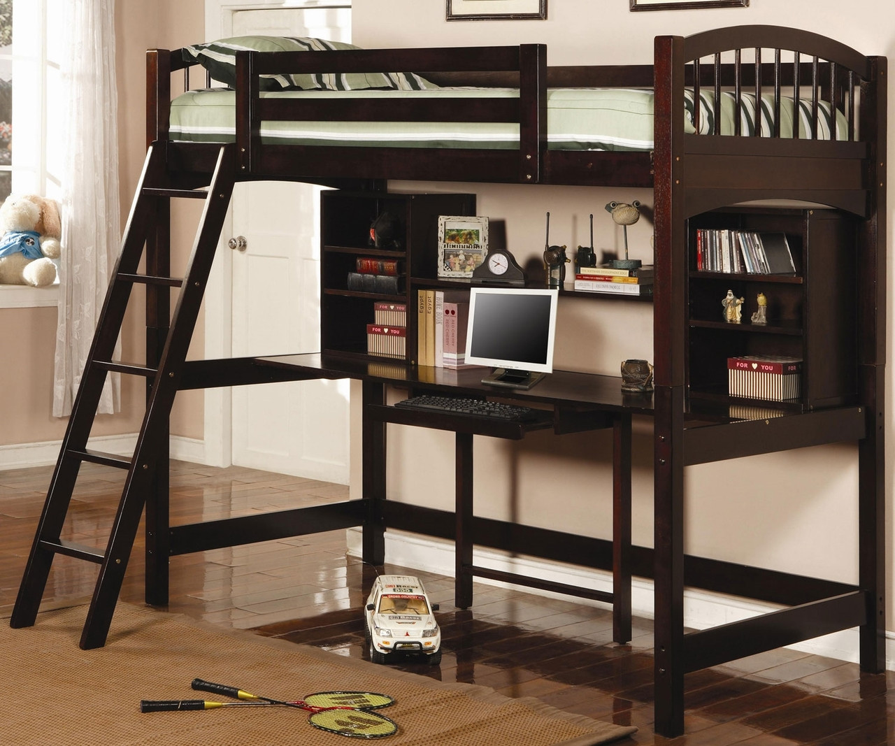 Ethan Loft Bed W Workstation Cappuccino