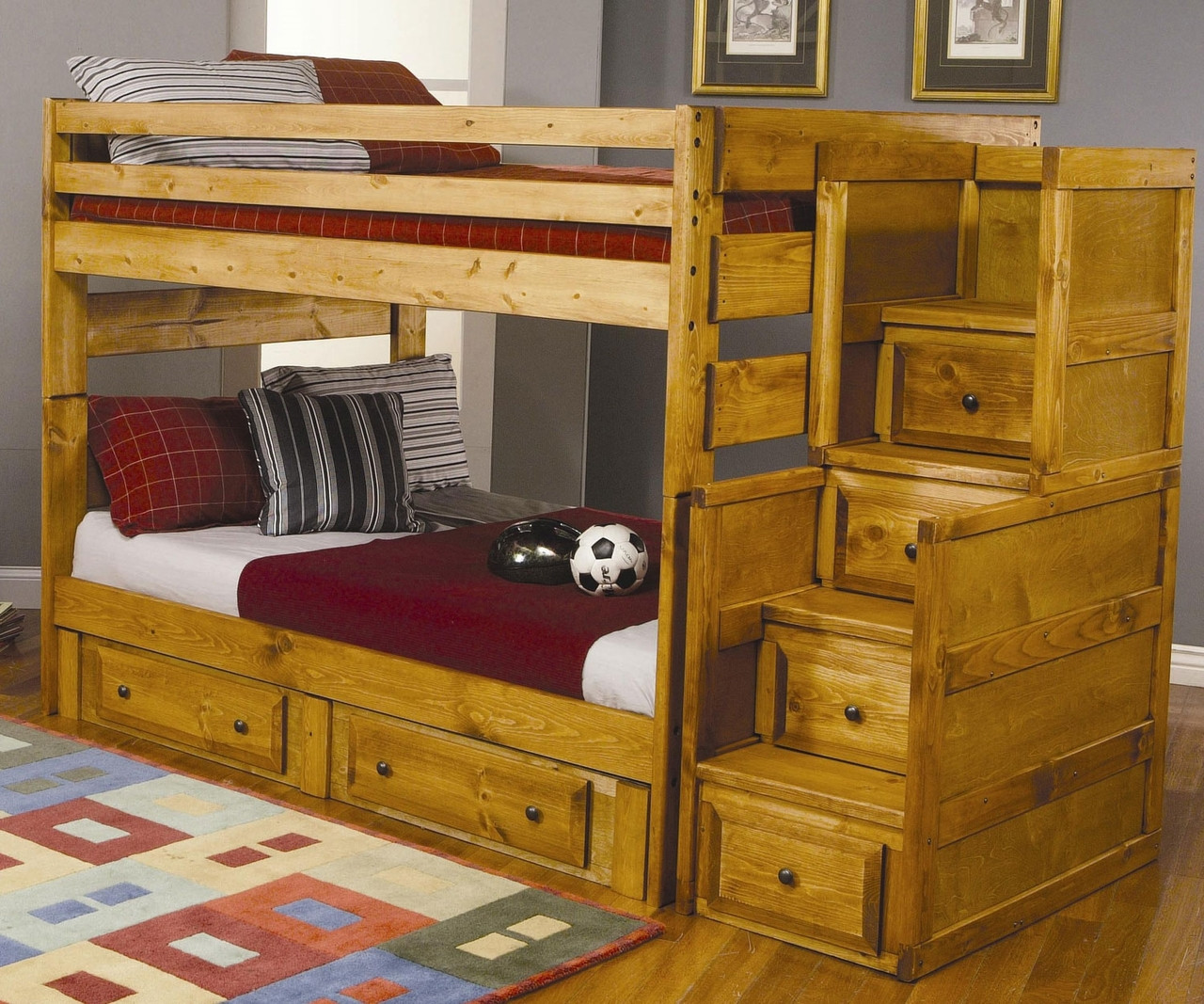 coaster wrangle hill full over full bunk bed with stairs 460096 coaster furniture kids and. Black Bedroom Furniture Sets. Home Design Ideas