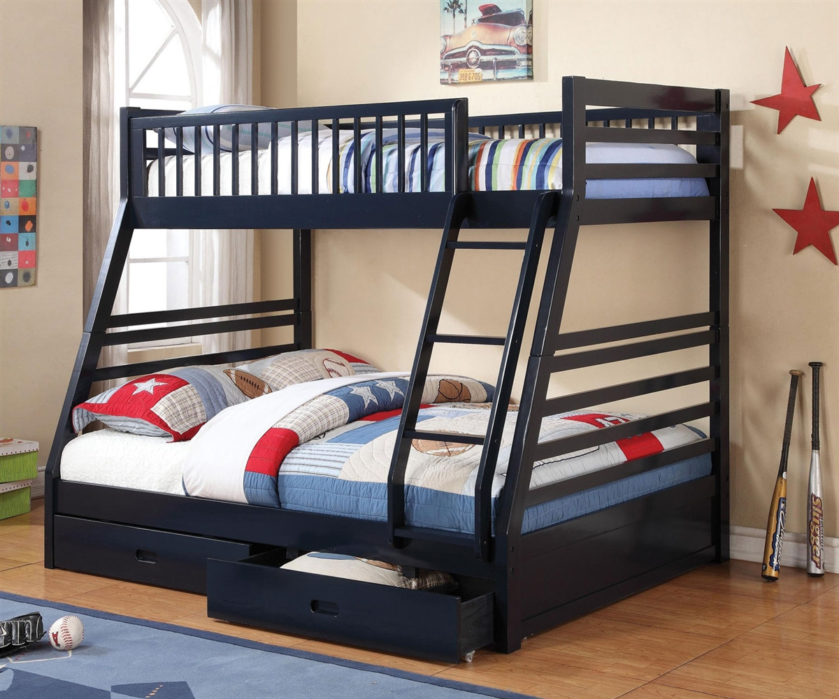 Picture of: Coaster Furniture 460181 Twin Over Full Navy Blue Bunk Bed Full Size Bunkbed With Drawers Twin Over Full Blue Bunkbed With Storage Drawers At Kids Furniture Warehouse