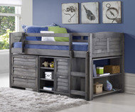 Louver Low Loft Bed with Chests and Bookcase Antique Grey | Donco Trading | DT-790AAG-Config-A