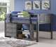 Louver Low Loft Bed with Chest and Bookcase Antique Grey   Donco Trading   DT-790AAG-Config-C