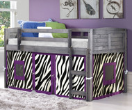 Louver Low Loft Bed with Zebra Tent Antique Grey | Donco Trading | DT-790AAG-Z