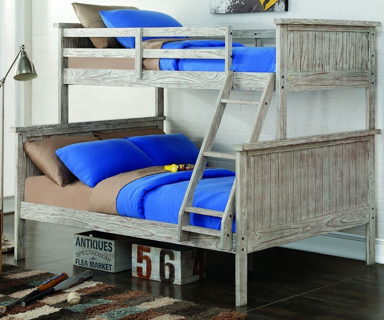 Picture of: Donco Trading Driftwood Twin Over Full Bunk Bed 004tfd Solid Wood Bunk Bed Donco Furniture