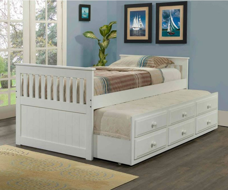 low priced caa68 dd67e Mission Twin Size Captain's Trundle Bed White