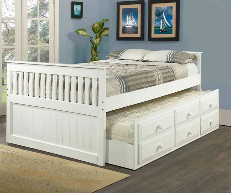White Full Size Trundle Captains Beds Kids Bedroom Furniture Orlando