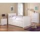 Sleigh Twin Size Captain's Trundle Bed White   Donco Trading   DT125W-CL