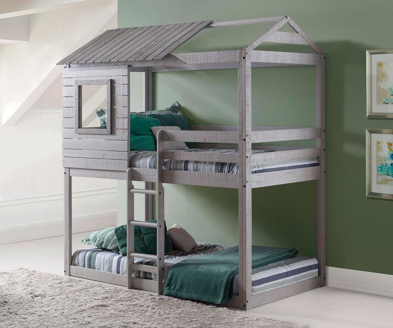 Twin Over Twin Deer Blind Bunk Loft Bed In Light Grey