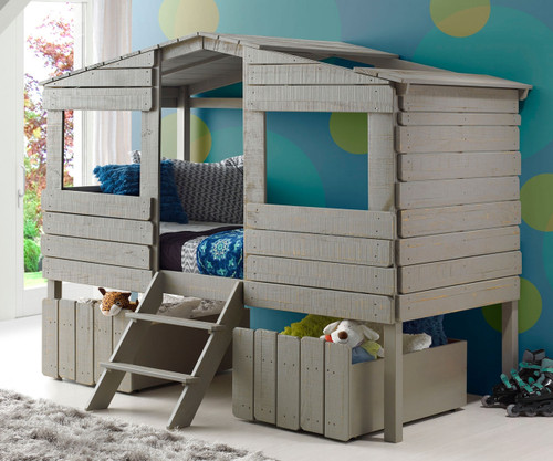 Tree House Loft Bed Twin Size Grey | Donco Trading | DT1380TLRG
