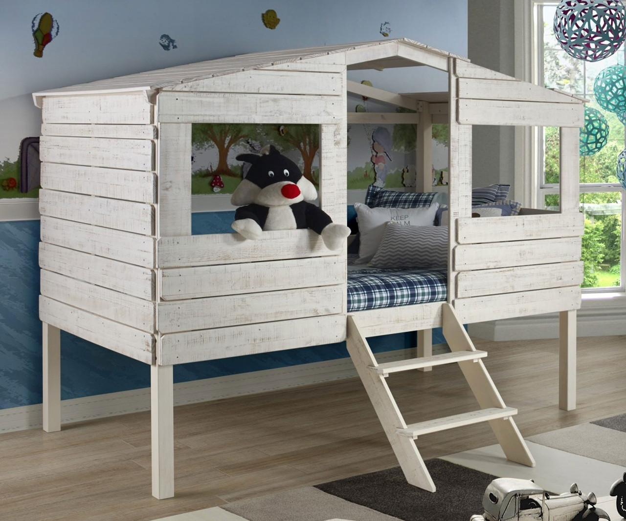Twin Size My Hideaway Low Loft Bed In Rustic Sand Finish 1380tlrs Donco Trading Solid Wood Kids Furniture