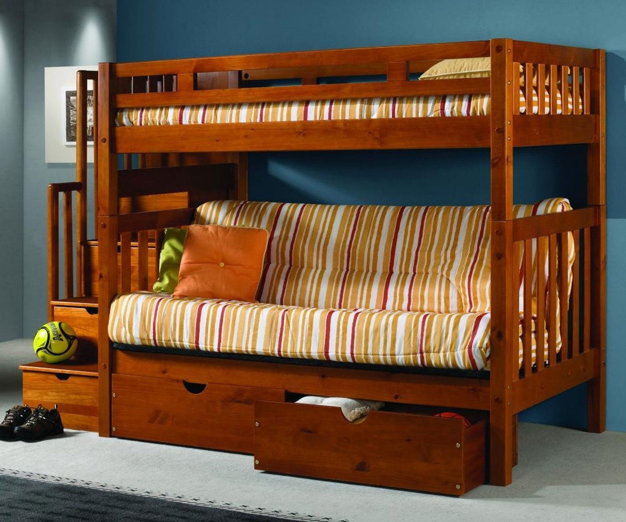 Picture of: Donco Trading Mission Stairway Futon Bunk Bed 200 Abcdefgh 300 Solid Wood Bunk Bed Donco Furniture