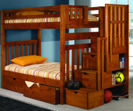 Mission Honey Stair Stepper Bunk Bed   Donco Trading   DT200H