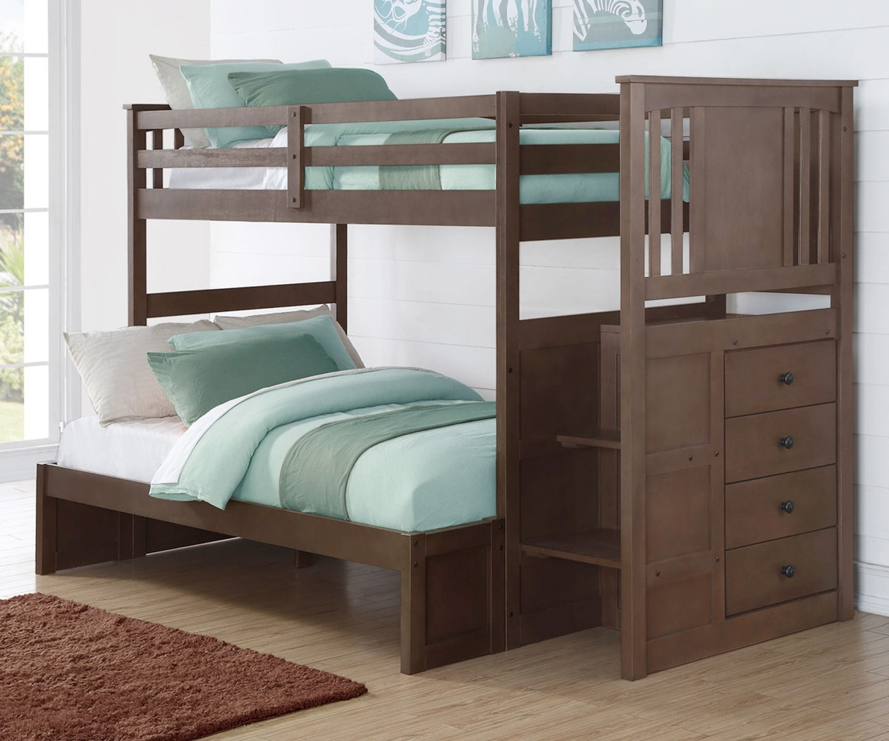 Donco Trading Princeton Twin Over Full Stairway Bunk Bed 2204sg Solid Wood Bunk Bed Donco Furniture
