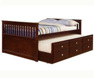 Mission Full Size Captains Trundle Bed Cappuccino | Donco Trading | DT303CP-FULL