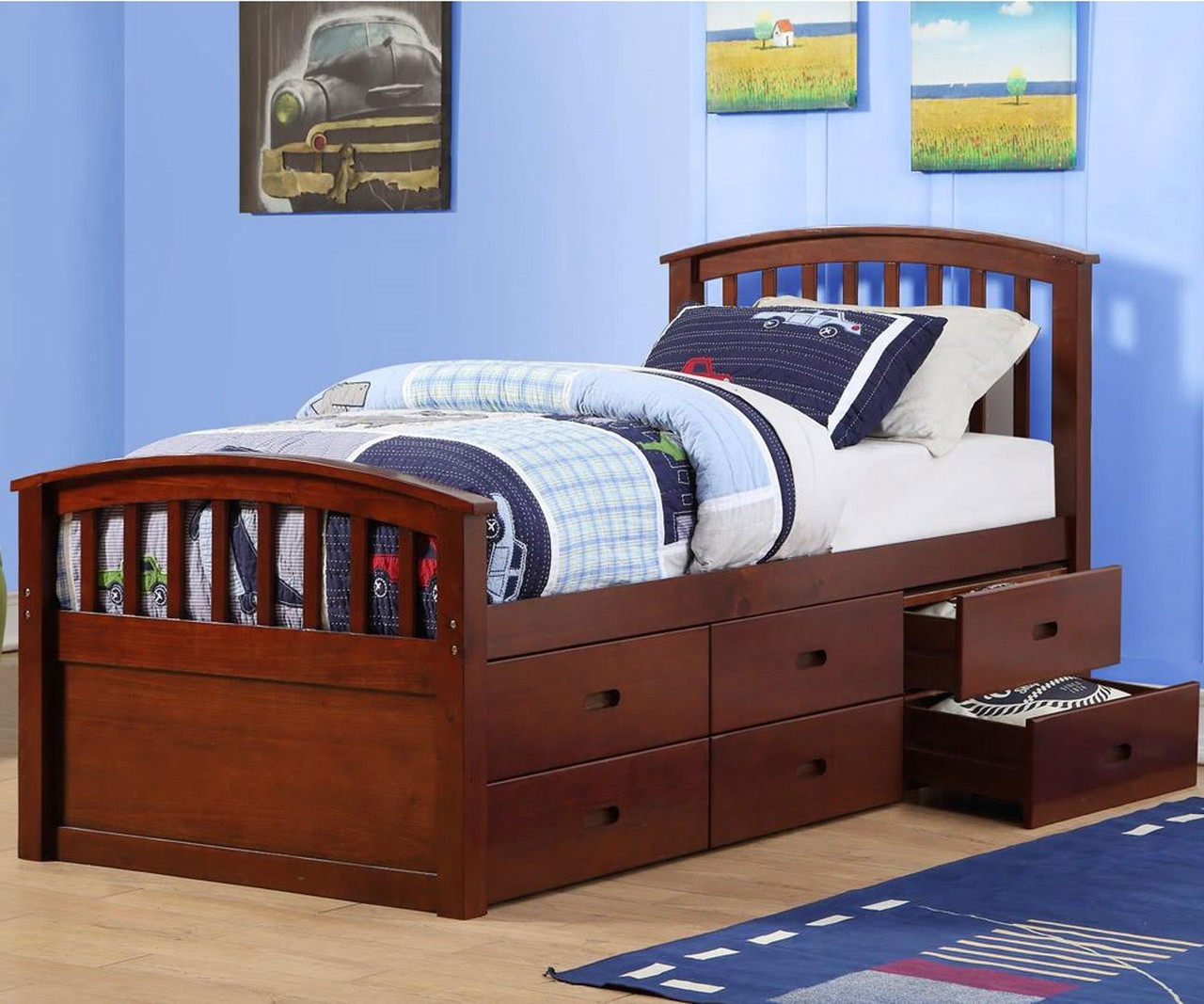 Picture of: Twin Size Captains Storage Bed In Cappuccino Finish 425cp Donco Trading Kids Furniture Solid Wood Kids Bedroom Furniture