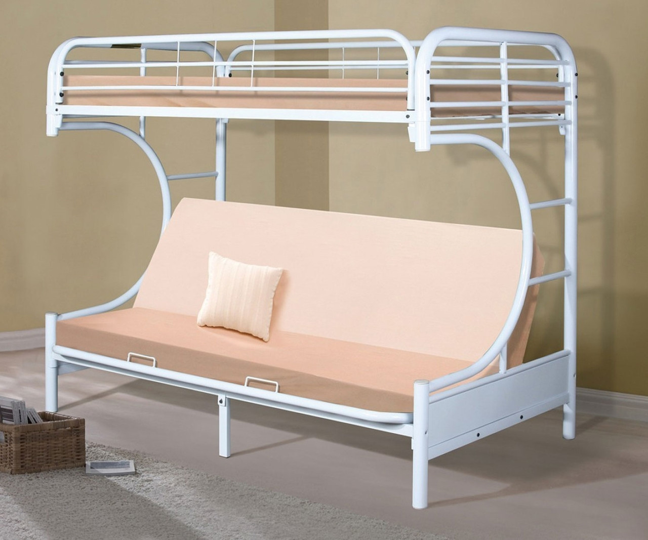 new styles bfb0e 851ac Donco C-Shaped Futon Bunk Bed White