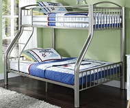 Heavy Metal Twin over Full Bunk Bed - Silver | Donco | DT4512-3S