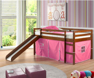 Low Loft Bed with Pink Tent & Slide Espresso | Donco Trading | DT750ETP