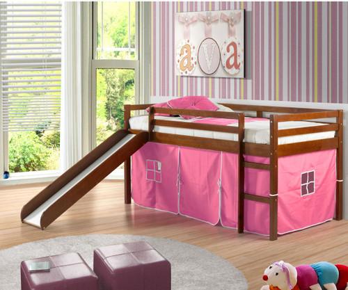 Low Loft Bed with Pink Tent & Slide Espresso | Donco Trading | DT750ETP