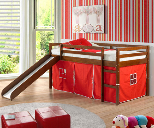 Low Loft Bed with Red Tent & Slide Espresso | Donco Trading | DT750ETR