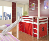 Low Loft Bed with Red Tent & Slide White | Donco Trading | DT750WTR