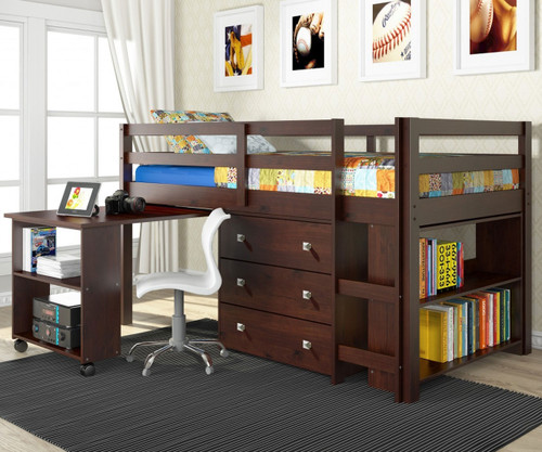 Donco Low Loft Bed with Desk and Storage Twin Size Cappuccino | Donco Trading | DT760CP