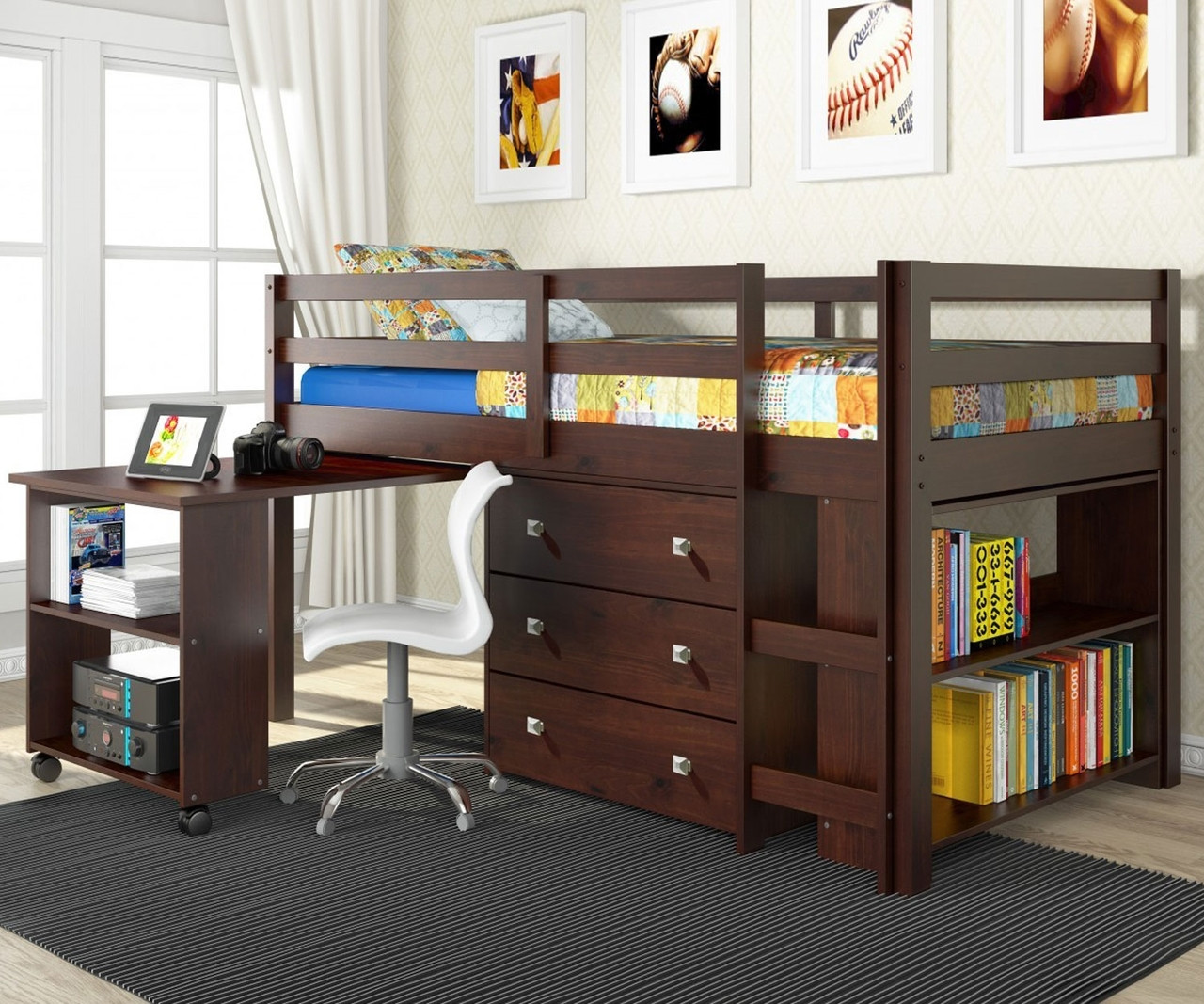 Twin Size Low Loft Bed In Cappuccino Finish 760cp Donco Trading Solid Wood Kids Furniture