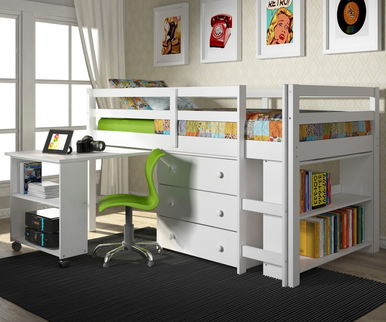 Twin Size Low Loft Bed In White Finish 760w Donco Trading Solid Wood Kids Furniture
