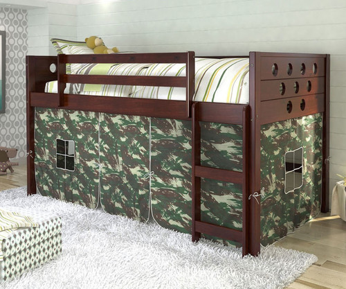 Circles Low Loft Bed with Camo Tent Cappuccino | Donco Trading | DT780ATCP-C