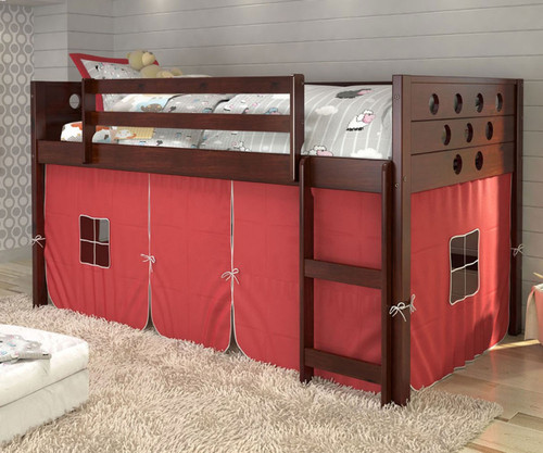 Circles Low Loft Bed with Red Tent Cappuccino | Donco Trading | DT780ATCP-R