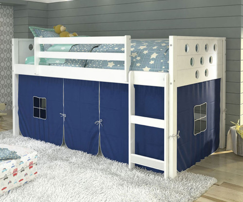 Circles Low Loft Bed with Blue Tent White | Donco Trading | DT780ATW-B