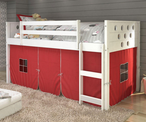 Circles Low Loft Bed with Red Tent White | Donco Trading | DT780ATW-R