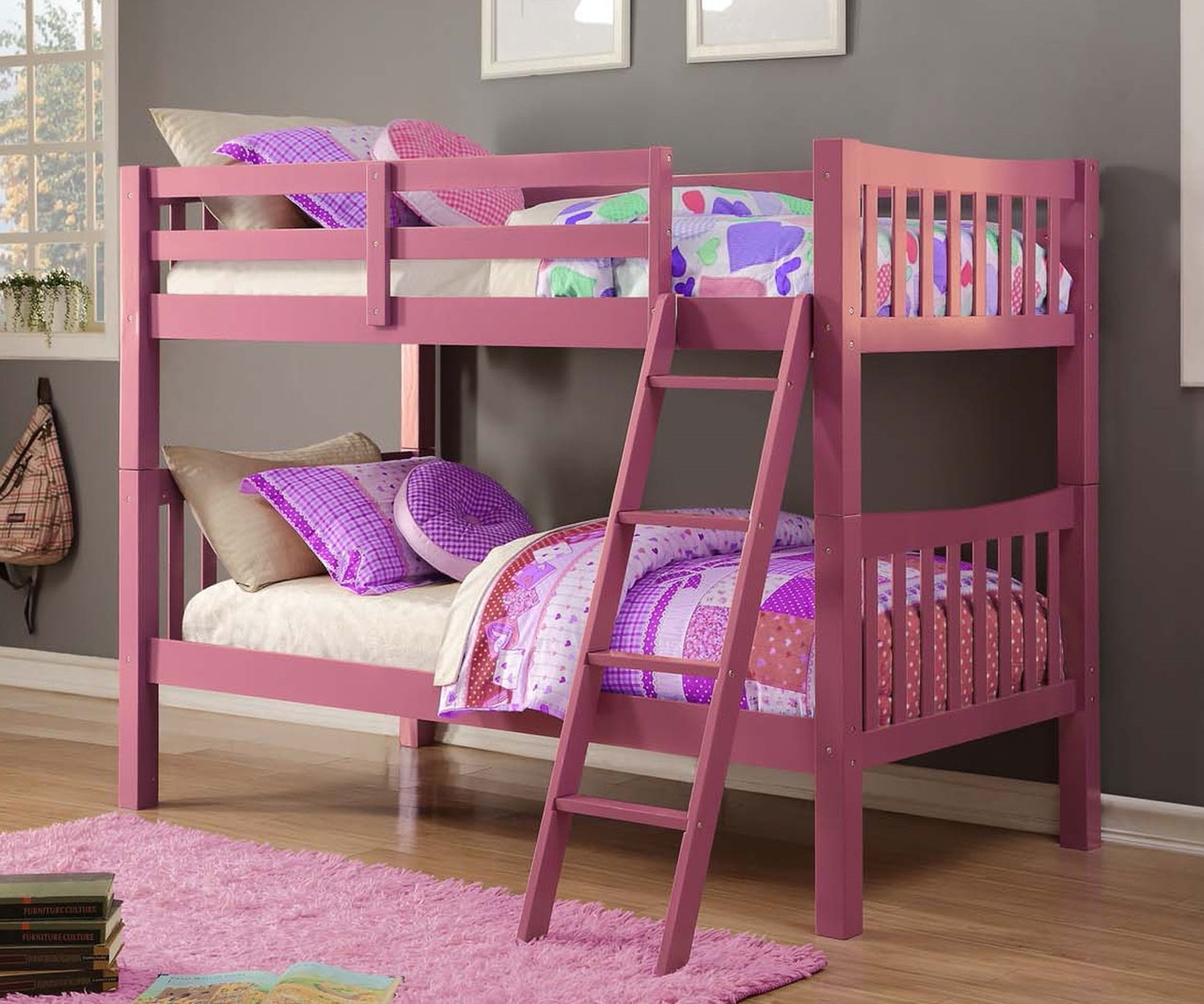 Picture of: Donco Trading Pink Bunk Bed 9080ttp Solid Wood Bunk Bed Donco Furniture