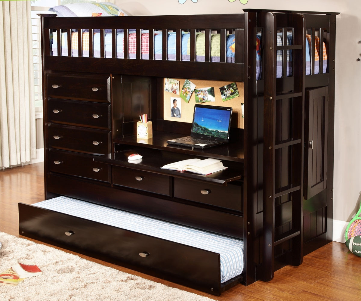 Espresso All In One Loft Bed 2903 Bunk Bed With Desk Discovery World Furniture