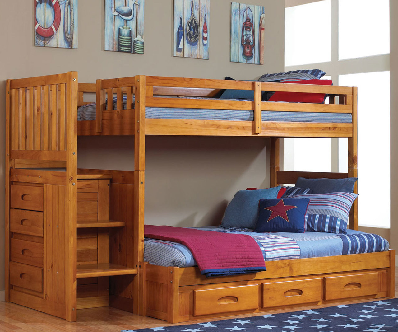 Picture of: Buy Honey Collection Mission Kids Bunk Beds With Stairs And Steps Discovery Stairstepper Kids Bunkbed Furniture Bedroom Sets With Stairs In Honey Wide Selection Of Honey Bunk Beds With