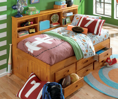 Honey Twin Size Bookcase Captain's Day Bed | Discovery World Furniture | DWF2122