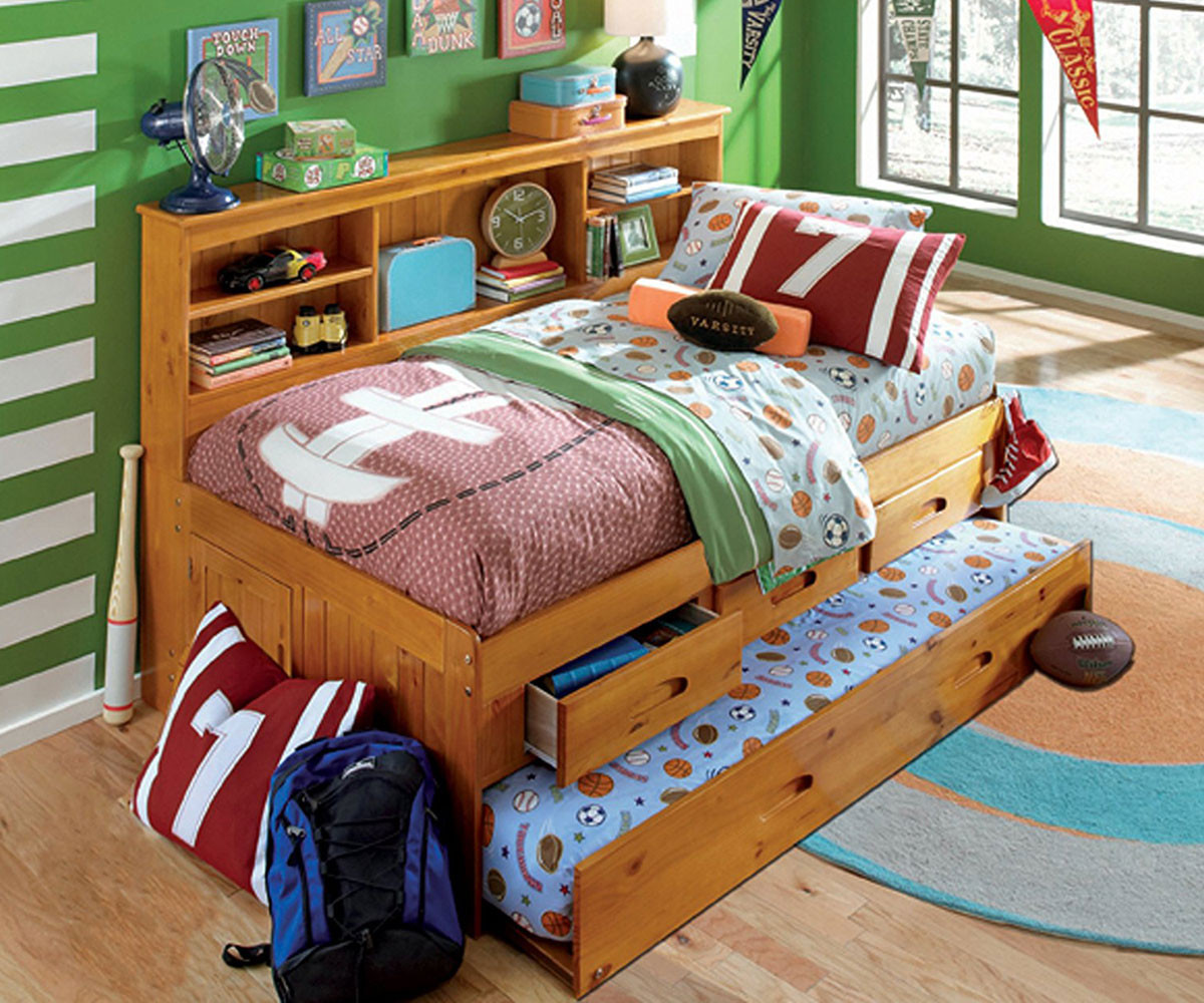 Honey Twin Size Bookcase Captain S Day Bed With Trundle