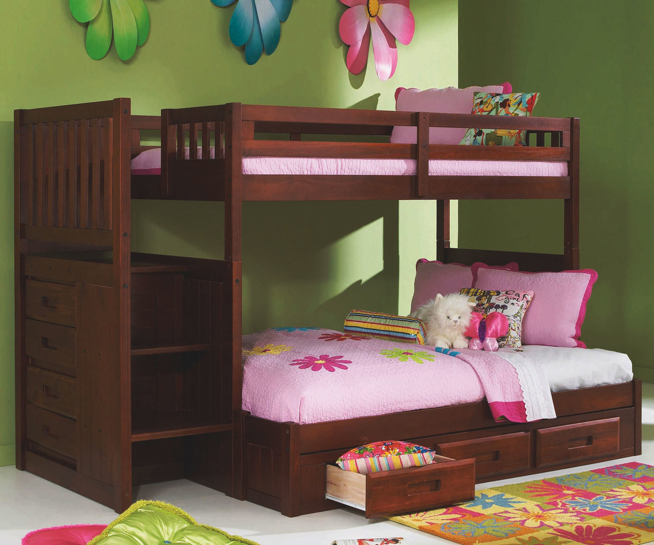 Bed Over Stair Box With Storage And Stairs: Merlot Finish Mission Stairstepper Bunk Bed At Kids