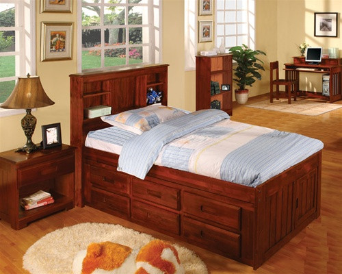 Acadia Twin Size Bookcase Captains Bed