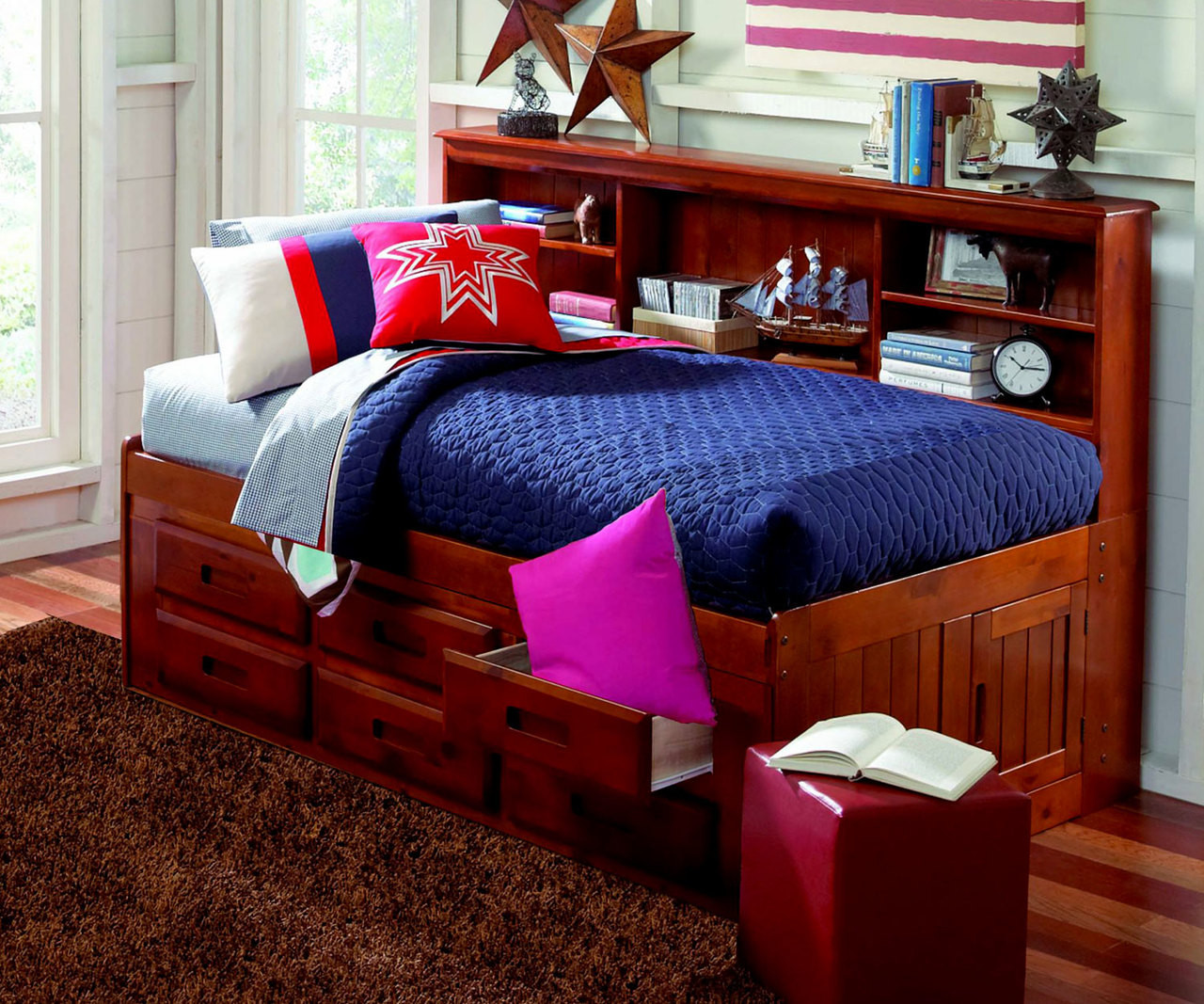 Merlot Twin Size Bookcase Captain S Day Bed