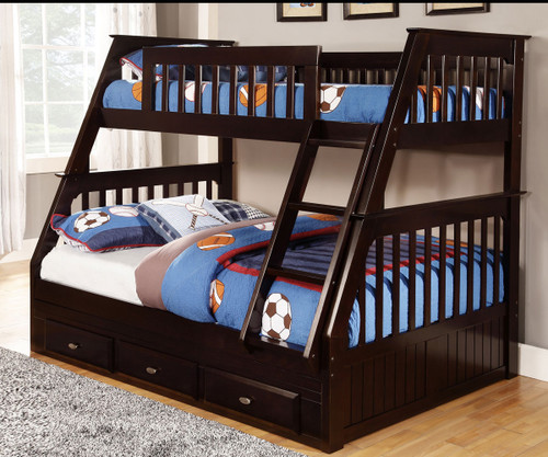 Discovery World Furniture Twin Over Full Espresso Bunk