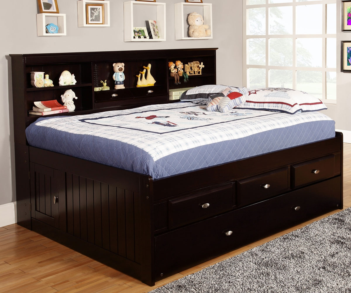 - Espresso Full Size Bookcase Captain's Day Bed With Trundle KFW
