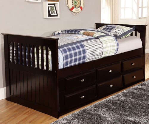 Twin Size Captains Bed With 6 Drawers In Espresso 2935