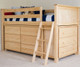Jackpot Low Loft Bed with Dressers Natural | Jackpot Kids Furniture | JACKPOT-710110-001