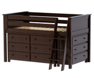 Jackpot Low Loft Bed with Dressers Cherry | Jackpot Kids Furniture | JACKPOT-710110-004