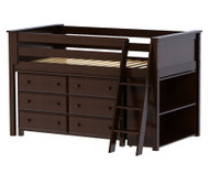 Jackpot Low Loft Bed with Dresser and Bookcase Cherry | Jackpot Kids Furniture | JACKPOT-710110X-004