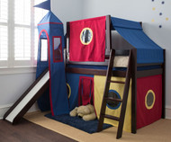Jackpot ROYAL FLUSH 10pc. Low Loft Bed with Top Tent, Tower, Slide & Curtains Cherry | Jackpot Furniture | JACKPOT-ROYALFLUSH29