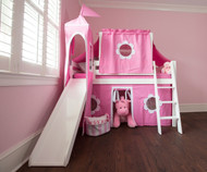 Jackpot ROYAL FLUSH 10pc. Low Loft Bed with Top Tent, Tower, Slide & Curtains White | Jackpot Furniture | JACKPOT-ROYALFLUSH78