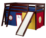 Jackpot SHUFFLE Low Loft Bed with Slide & Curtains Cherry | Jackpot Furniture | JACKPOT-SHUFFLE29