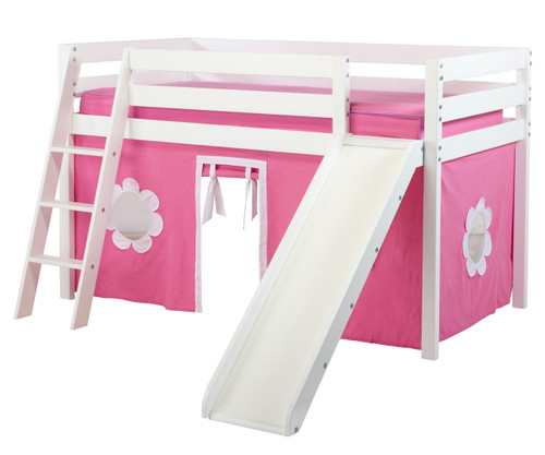 Jackpot SHUFFLE Low Loft Bed with Slide & Curtains White   Jackpot Furniture   JACKPOT-SHUFFLE78