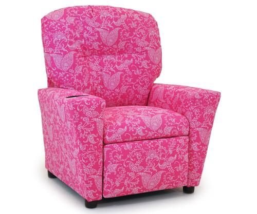 Kidz World Recliner Designer Fabric Small Paisley Candy Pink | Kidz World | KW1300-SPCP